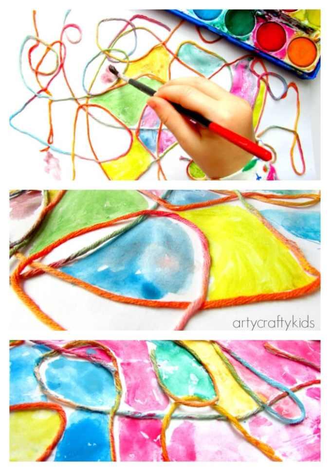 Watercolour yarn kids process art arty crafty kids Fun painting ideas for toddlers