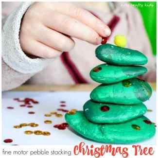 Arty Crafty Kids   Play   Fine Motor Pebble Stacking Chrismas Tree