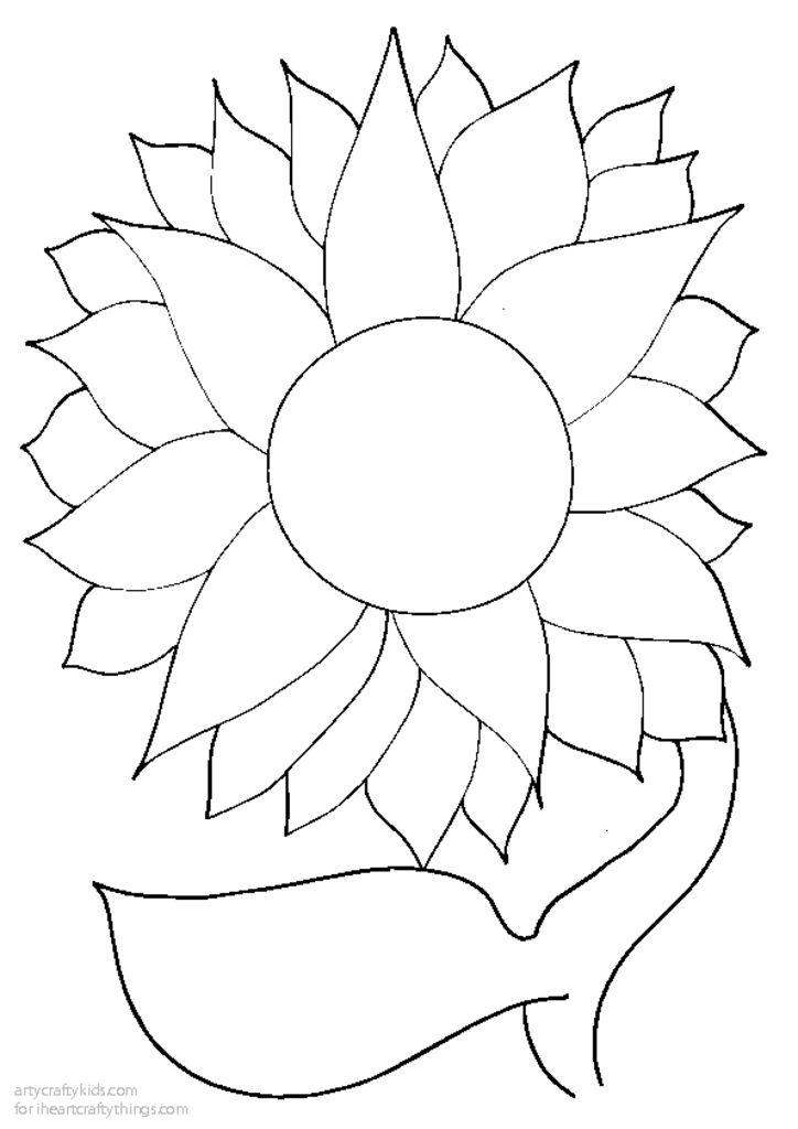 sunflower outline printable  outline flower clip art