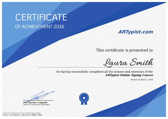 Get the certificate of completion of the typing course - ARTypist