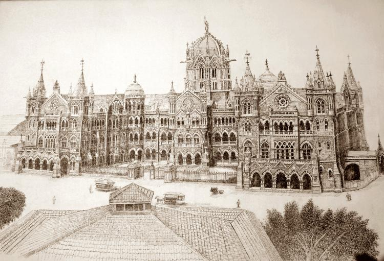 Chhatrapati Shivaji Terminus Vt By Artist Aman A Ink Drawings On Canvas