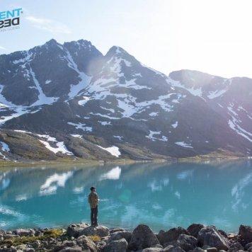 Fishing in a glacier lake.