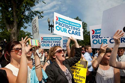 Demonstrators react to Supreme Court ruling. Source: U.S.news.com