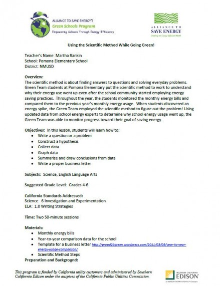 Using the Scientific Method While Going Green Lesson Plan Alliance