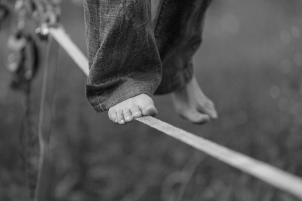 Slackline in the park. Black and white photos