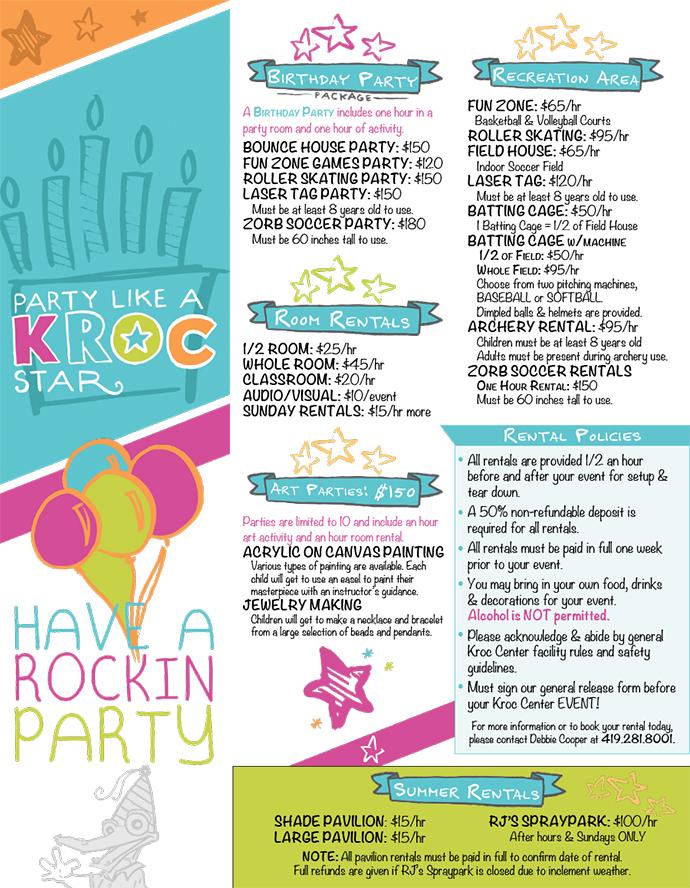 Ashland Salvation Army Kroc Center - Rentals - party rental flyer