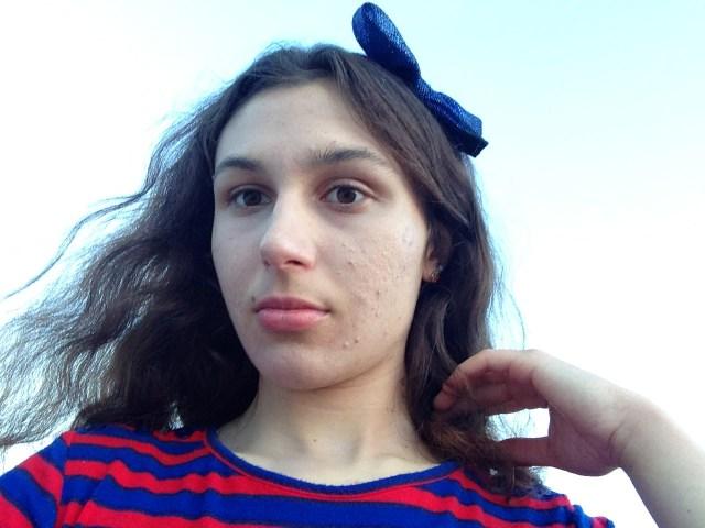 Blue Hair Bow and Striped Bon Worth Blouse