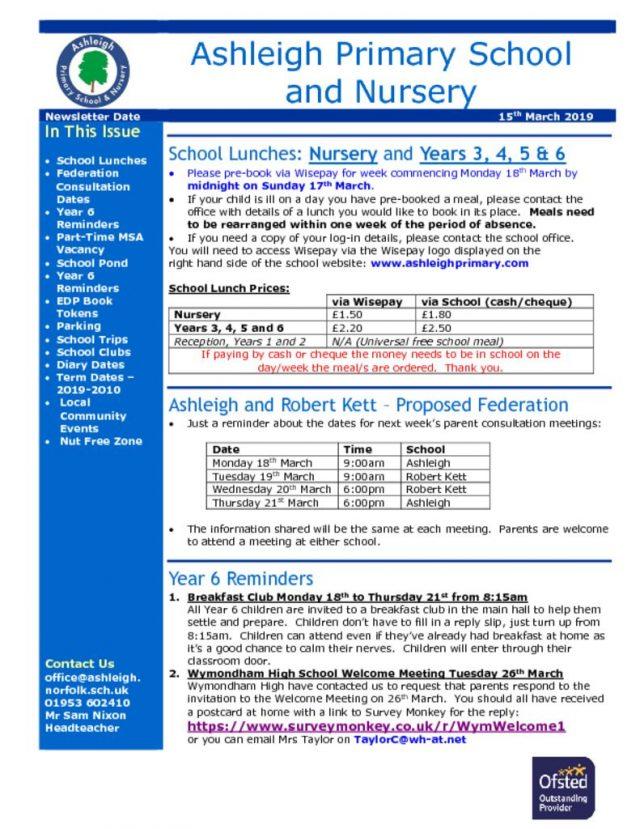 Newsletters \u2013 Ashleigh Primary School  Nursery