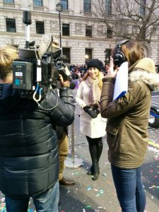 About to be interviewed at the New Year's Day Parade