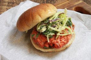 Wild Salmon Burgers with Broccoli Slaw