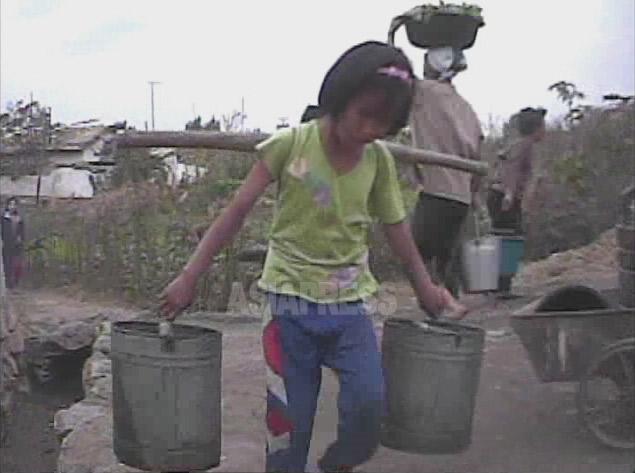 <北朝鮮写真報告>少女たちの辛い重労働 水汲み、薪集めにバッタ採り 搾取される子供たち(写真4枚)