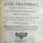Vermeil, Francois Michel. Trial of an Accused Transsexual in 18th-century France, Mémoire pour Anne Grandjean....