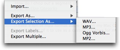 Audacity on Mac OS X: Export Selection As