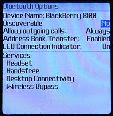 Blackberry Pearl 8100: Bluetooth Options