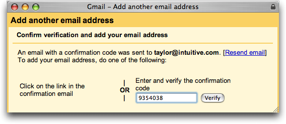 Gmail: Enter Verify Code