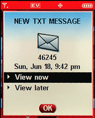 Gmail invitation received on Motorola RAZR V3c