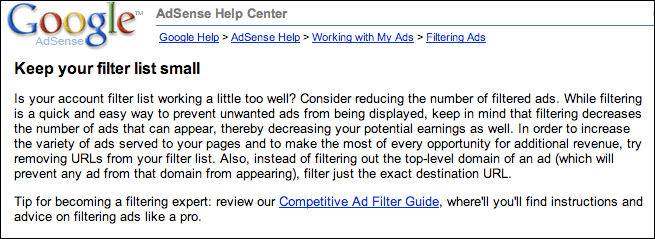 Google AdSense: Optimization Report Message: Don't Block Too Many Advertisers