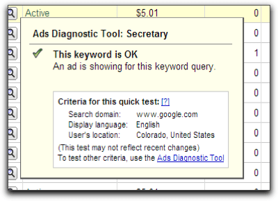 Google Adwords: Keyword is OK