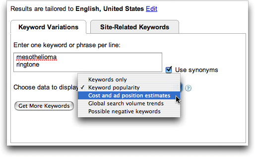 Google AdWords Keyword Tool: mesothelioma and ringtone