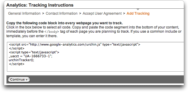 Google Analytics: Signup #3: Code
