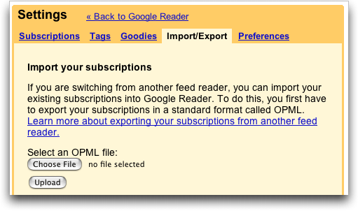 Google Reader: Settings: Import/Export