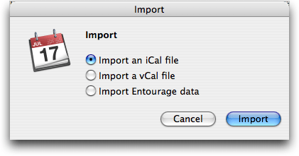 Apple iCal: Import what format calendar data file?