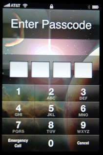 Apple iPhone: Idle Lock: Custom Wallpaper: Enter Passcode