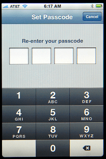 Apple iPhone Settings: Re-Enter and Confirm Password / Passcode