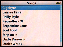 Apple iPod browse by song screen