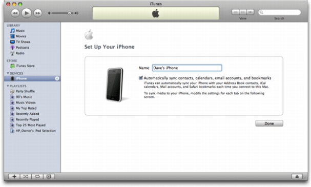 iTunes on Mac OS X: Apple iPhone: Sync Setup in iTunes