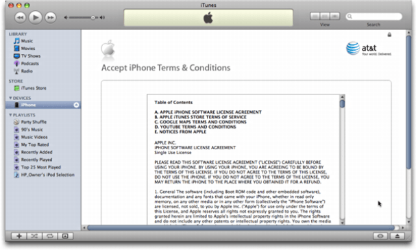 iTunes on Mac OS X: Apple iPhone: Terms of your iTunes Account Agreement