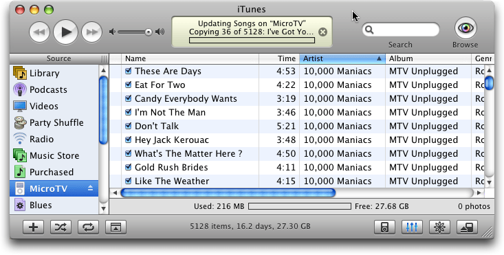 Apple iTunes: iPod Updating / Copying Music