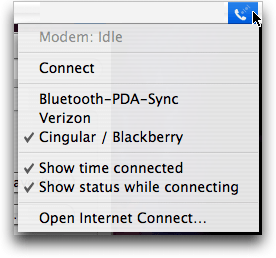 Mac OS X: Menu Bar modem menu