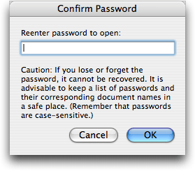 Confirming a document password in Microsoft Word for Mac OS X
