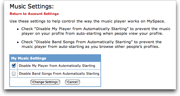 MySpace Settings: Music Settings