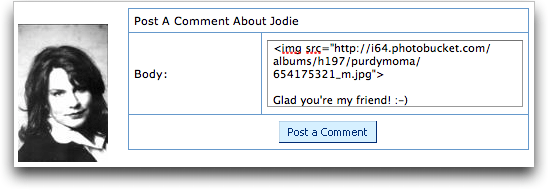 MySpace Add Comment to Jodie