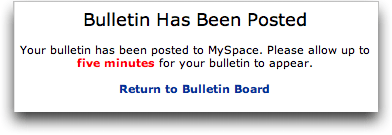 MySpace Bulletin: Posting Confirmed