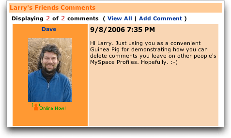 MySpace: Comment Left On Someone Else's Profile
