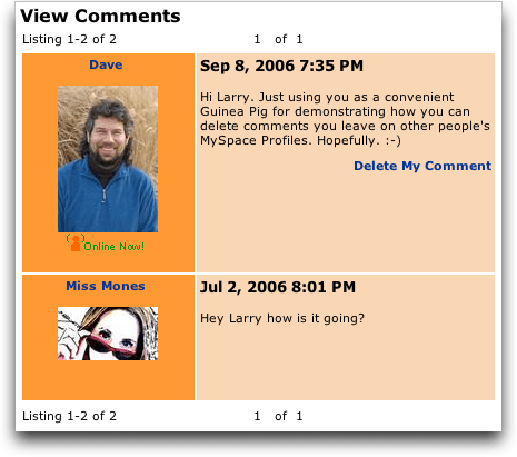MySpace: View All Comments On Someone Else's Profile