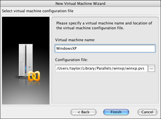Parallels, New Virtual Machine Wizard, VM Name