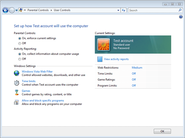 Microsoft Windows Vista Parental Controls: Setup