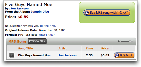 Amazon's AmazonMp3 Mp3 Store: Joe Jackson: Five Guys Named Moe