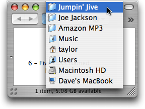Amazon's AmazonMp3 Song Directory on Mac OS X Finder
