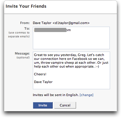 Facebook: Invite Friends: Invitation Compose Window