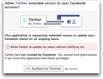 Authorize access: Twitter within Facebook
