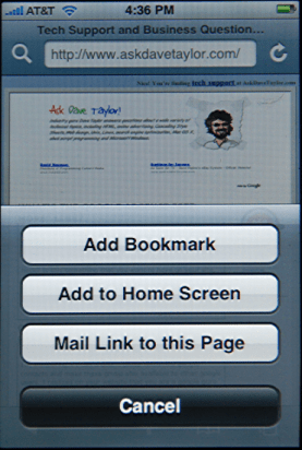 Apple iPhone: Safari: Creating a Bookmark for Ask Dave Taylor Tech Support