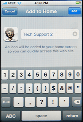 Apple iPhone: Safari: Naming Bookmark for Ask Dave Taylor Tech Support