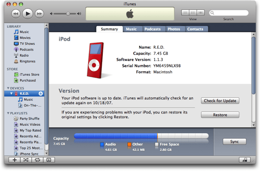 iTunes showing an iPod, Mac OS X