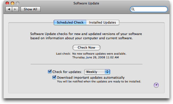 Mac OS X: Software Update