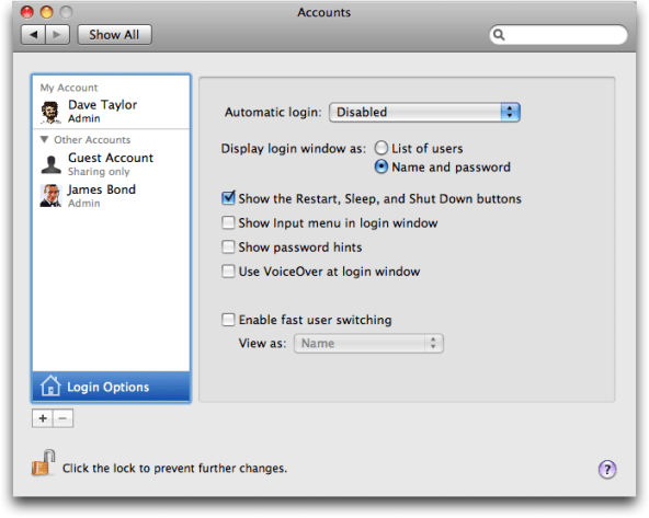 Mac OS X: System Preferences: Accounts: Login Options